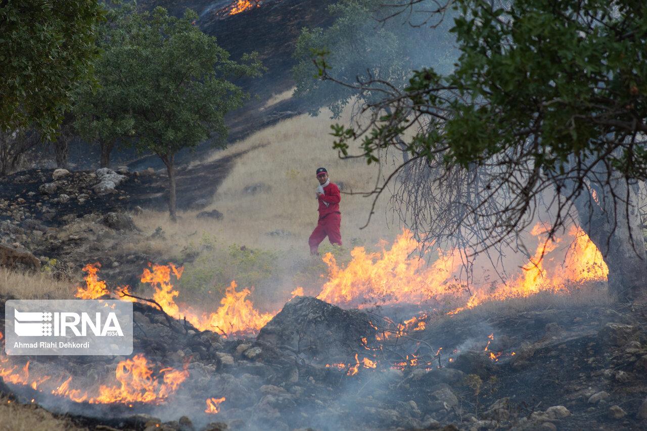 آتش در ارتفاعات بخش دهدز شهرستان ایذه شعلهور شد